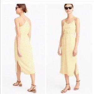 J.CREW Yellow and White Stripe Midi Dress